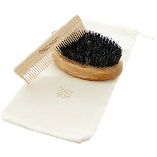 TEK Ash Wood Beard Brush and Comb Gift Set Beard and Moustache Grooming TEK