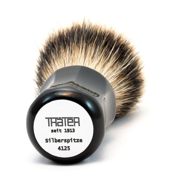 H.L. Thater 4125 Series Fan-Shaped Silvertip Badger Shaving Brush with Black Handle, Size 1 - Fendrihan - 2