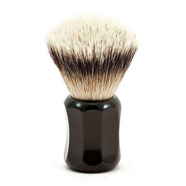 H.L. Thater 4125 Series Fan-Shaped Silvertip Badger Shaving Brush with Black Handle, Size 1 - Fendrihan - 1