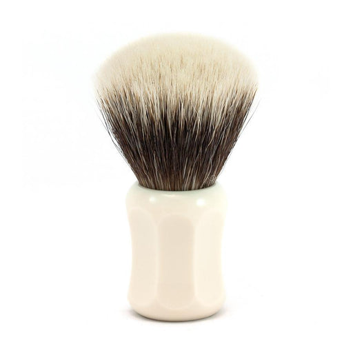 H.L. Thater 4125 Series 2-Band Fan-Shaped Silvertip Shaving Brush with Faux Ivory Handle, Size 2 - Fendrihan - 1