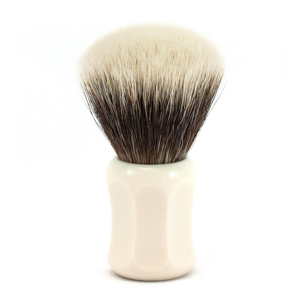 H.L. Thater 4125 Series 2-Band Fan-Shaped Silvertip Shaving Brush with Faux Ivory Handle, Size 3 - Fendrihan - 1