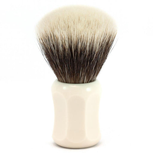 H.L. Thater 4125 Series 2-Band Fan-Shaped Silvertip Shaving Brush with Faux Ivory Handle, Size 5 - Fendrihan - 1