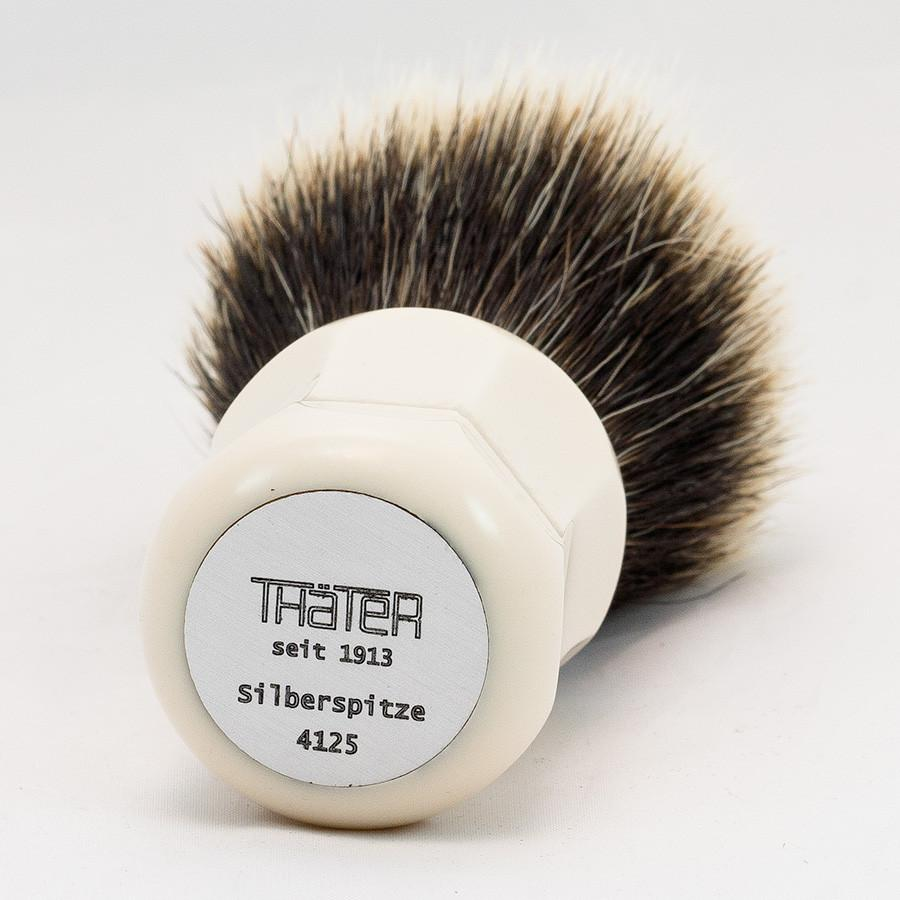 H.L. Thater 4125 Series 2-Band Fan-Shaped Silvertip Shaving Brush with Faux Ivory Handle, Size 3 Badger Bristles Shaving Brush Heinrich L. Thater
