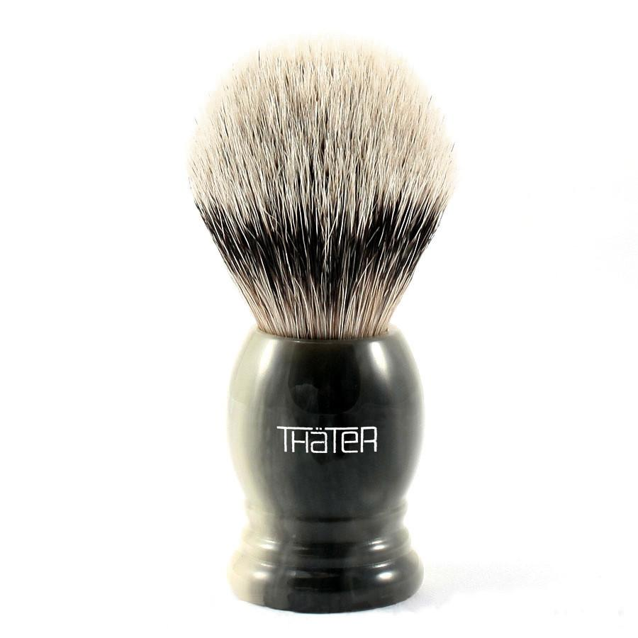 H.L. Thater 4292 Series Silvertip Shaving Brush with Faux Horn Handle, Size 3 Badger Bristles Shaving Brush Heinrich L. Thater