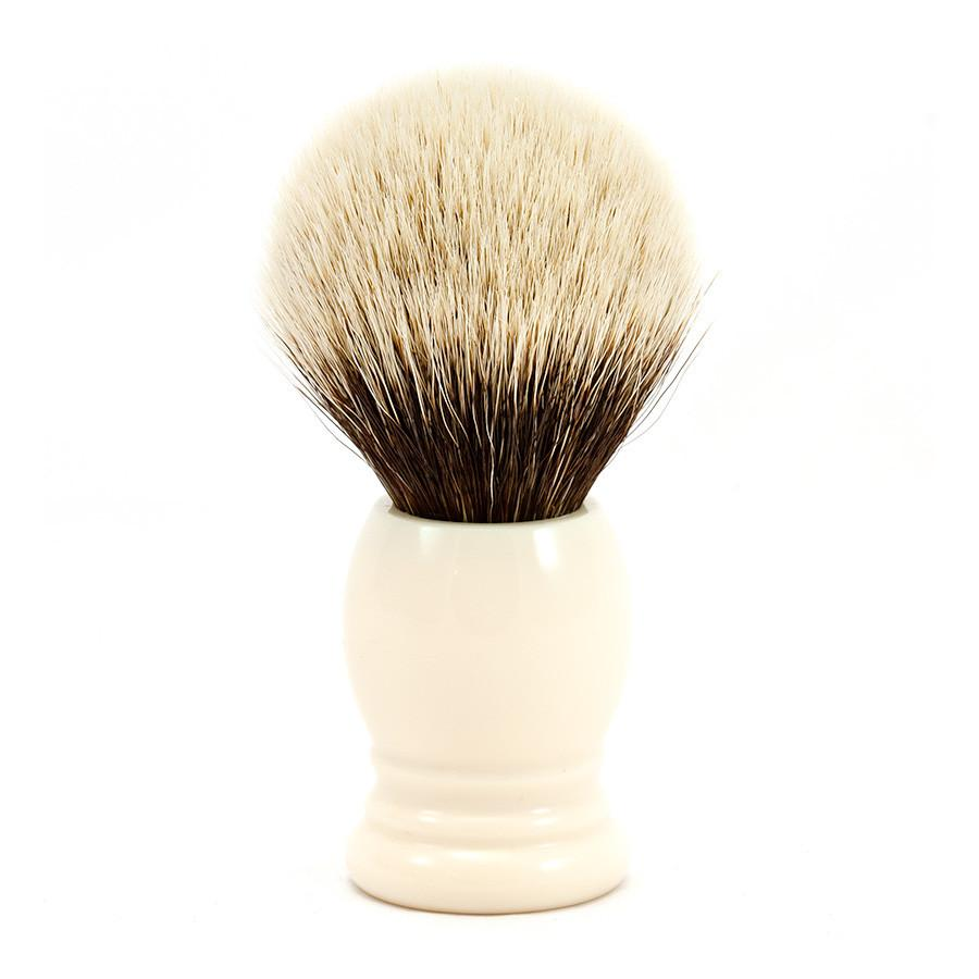 H.L. Thater 4292 Series 2-Band Silvertip Shaving Brush with Faux Ivory Handle, Size 4 Badger Bristles Shaving Brush Heinrich L. Thater