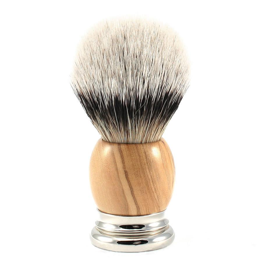H.L. Thater 4292 Precious Woods Series Silvertip Shaving Brush with Olive Wood Handle, Size 4 Badger Bristles Shaving Brush Heinrich L. Thater