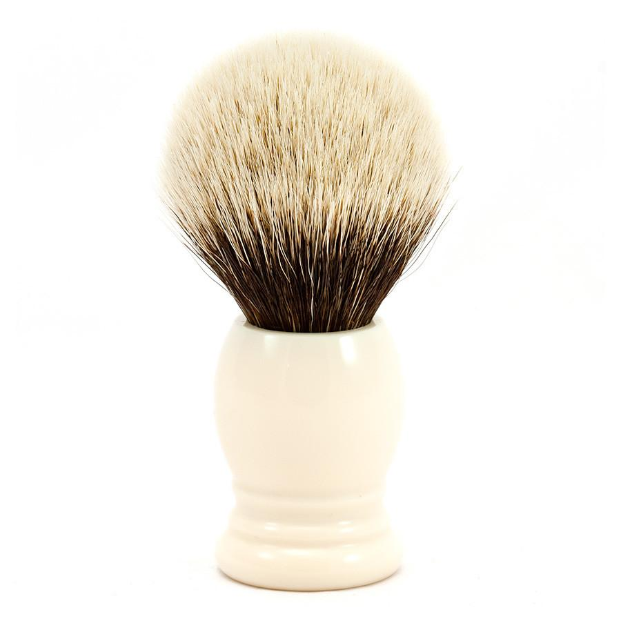 H.L. Thater 4292 Series 2-Band Silvertip Shaving Brush with Faux Ivory Handle, Size 5 Badger Bristles Shaving Brush Heinrich L. Thater