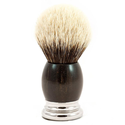 H.L. Thater 4292 Precious Woods Series 2-Band Silvertip Shaving Brush with Ebony Handle, Size 6 - Fendrihan