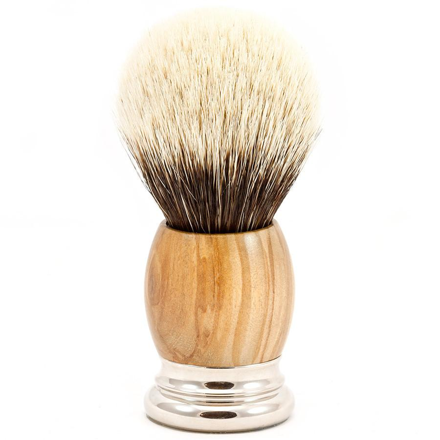 H.L. Thater 4292 Precious Woods Series 2-Band Silvertip Shaving Brush with Olive Wood Handle, Size 6 - Fendrihan