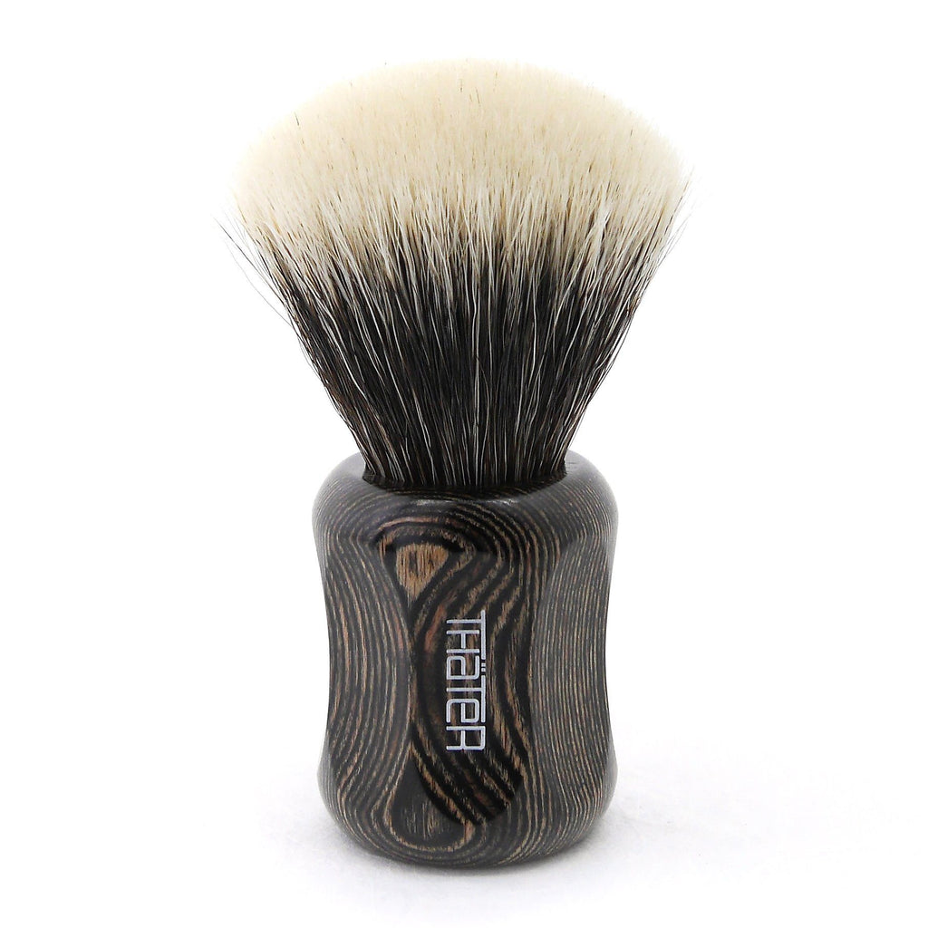 H.L. Thater 4125 Limited Edition 2-Band Fan-Shaped Silvertip Shaving Brush, Size 2 Badger Bristles Shaving Brush Heinrich L. Thater Onyx Maderia