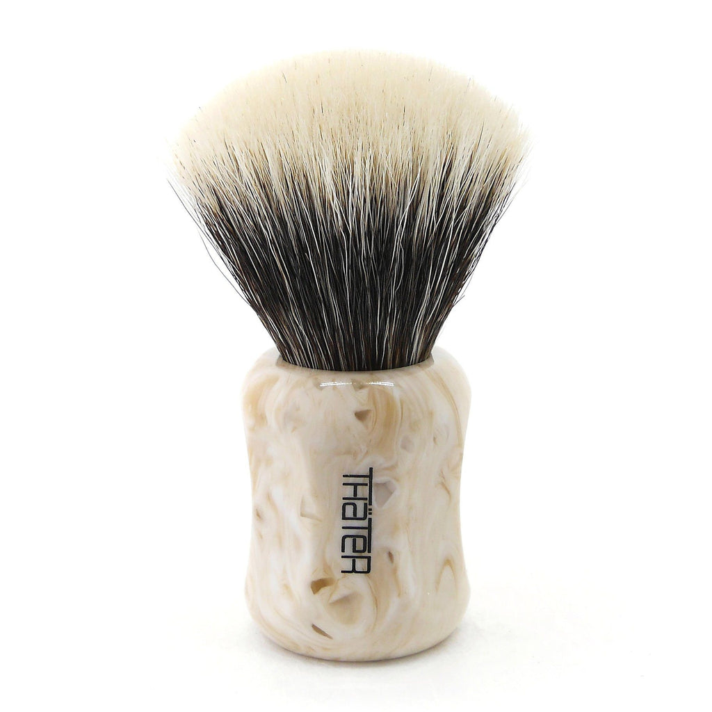 H.L. Thater 4125 Limited Edition 2-Band Fan-Shaped Silvertip Shaving Brush, Size 2 Badger Bristles Shaving Brush Heinrich L. Thater Perlato Sicilia