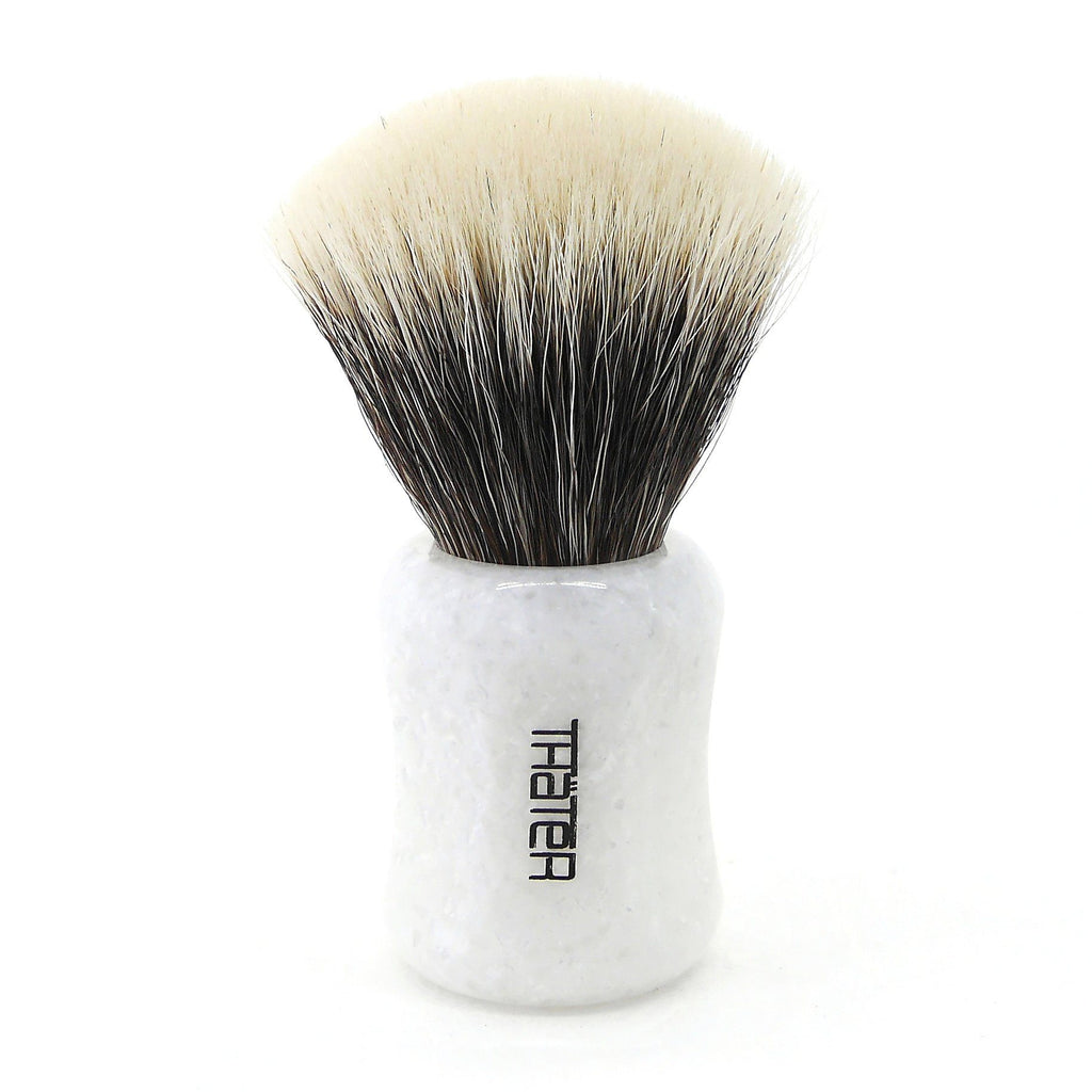 H.L. Thater 4125 Limited Edition 2-Band Fan-Shaped Silvertip Shaving Brush, Size 2 Badger Bristles Shaving Brush Heinrich L. Thater White Iceberg