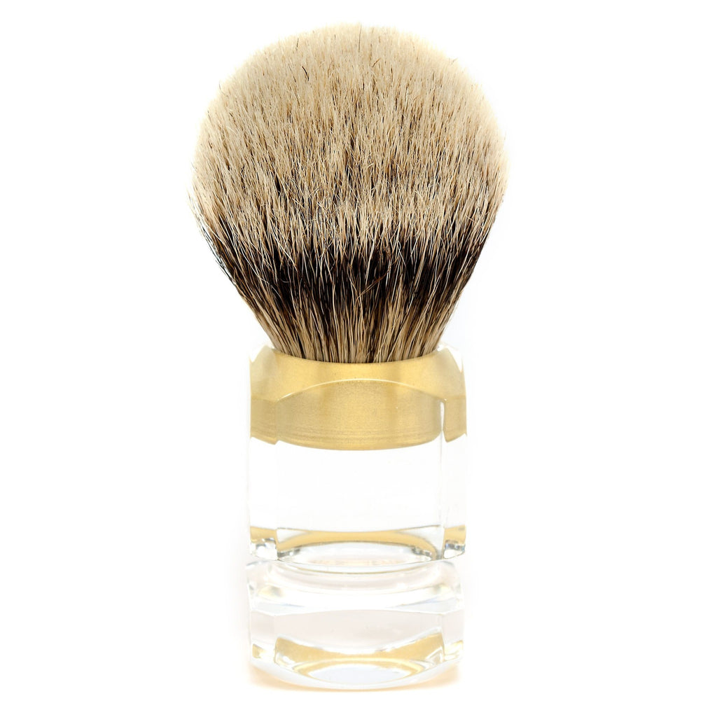 H L Thater 4376 Series Silvertip Shaving Brush With Clear