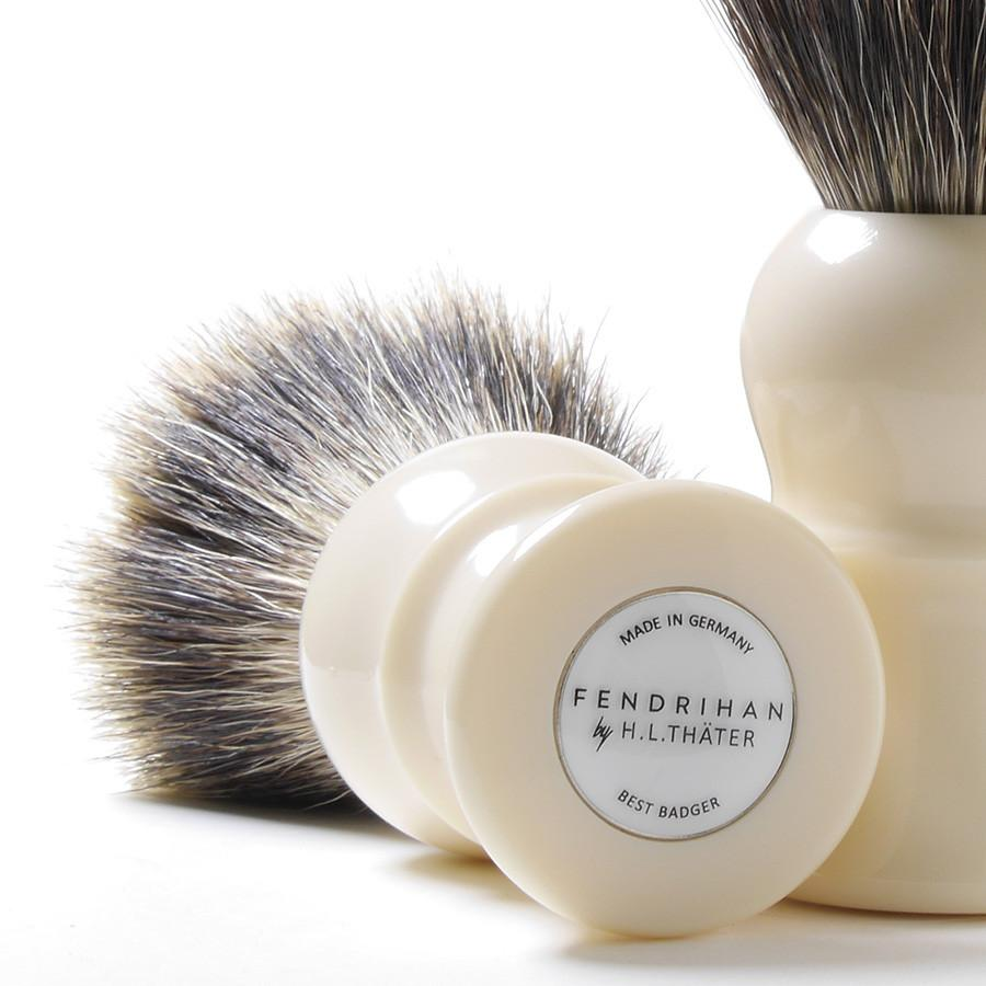 H.L. Thater for Fendrihan Best Badger Shaving Brush with Faux Ivory Handle, Size 4 Badger Bristles Shaving Brush Fendrihan