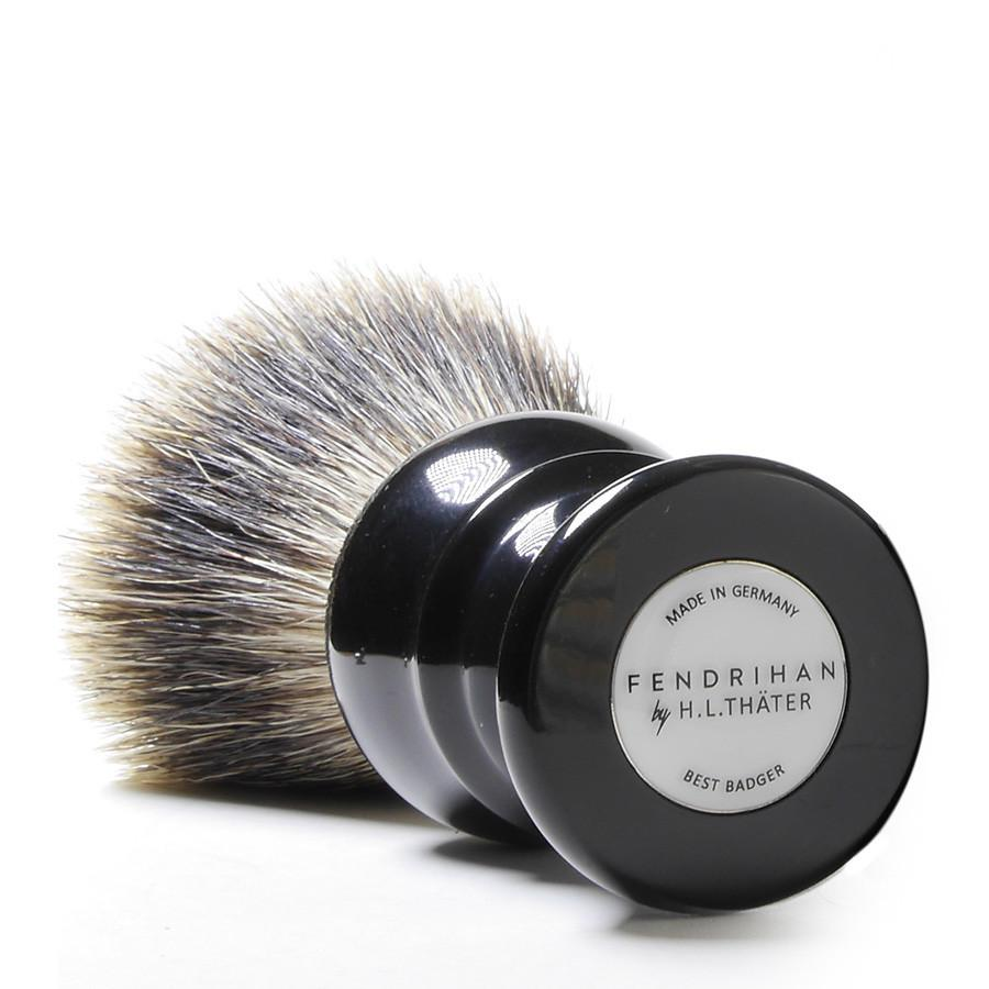H.L. Thater for Fendrihan Fan-Shaped Best Badger Shaving Brush with Black Handle, Size 4 Badger Bristles Shaving Brush Fendrihan