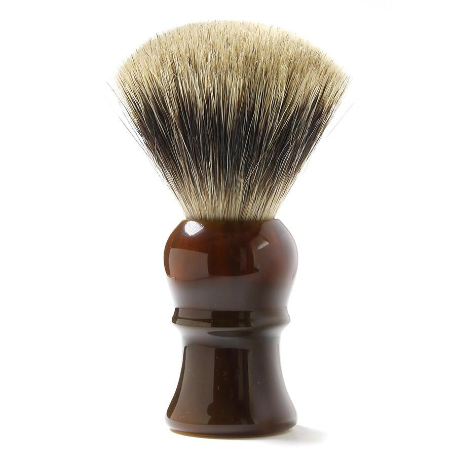H.L. Thater for Fendrihan Fan-Shaped Best Badger Shaving Brush with Faux Tortoise Handle, Size 4 Badger Bristles Shaving Brush Fendrihan