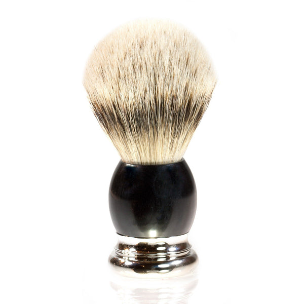 H.L. Thater 4292 Precious Woods Series Silvertip Shaving Brush with Ebony Handle, Size 4 - Fendrihan - 1