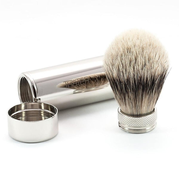 H.L. Thater 5068 Series Silvertip Shaving Brush in Brass Travel Case - Fendrihan - 2