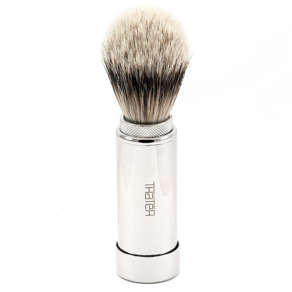 H.L. Thater 5068 Series Silvertip Shaving Brush in Brass Travel Case - Fendrihan - 1