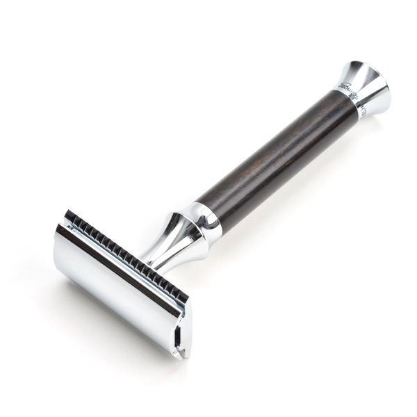 Timor 1364 Closed Comb Safety Razor with Solid Ebony Wood Long Handle Double Edge Safety Razor Timor
