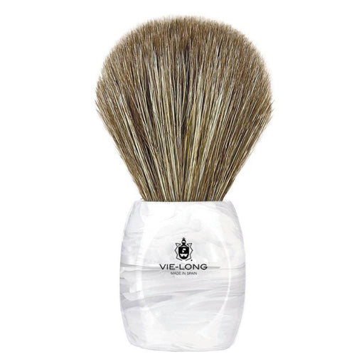 Vie-Long Horse Hair Shaving Brush, White and Clear Acrylic Handle - Fendrihan