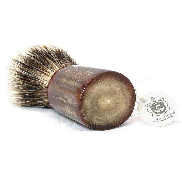 Vie-Long Silvertip Badger Hair Shaving Brush, Natural Horn Handle - Fendrihan - 4