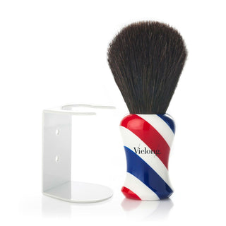 Vie-Long Black Horse Hair Shaving Brush, Barber Shop Handle with Stand Horse Bristles Shaving Brush Vie-Long