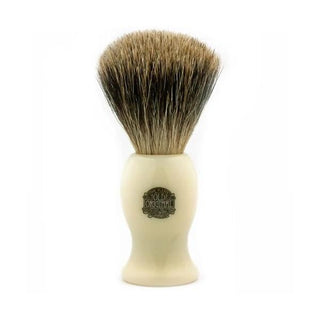 Vulfix 660P Large Pure Badger Shaving Brush, Faux Ivory Handle Badger Bristles Shaving Brush Vulfix