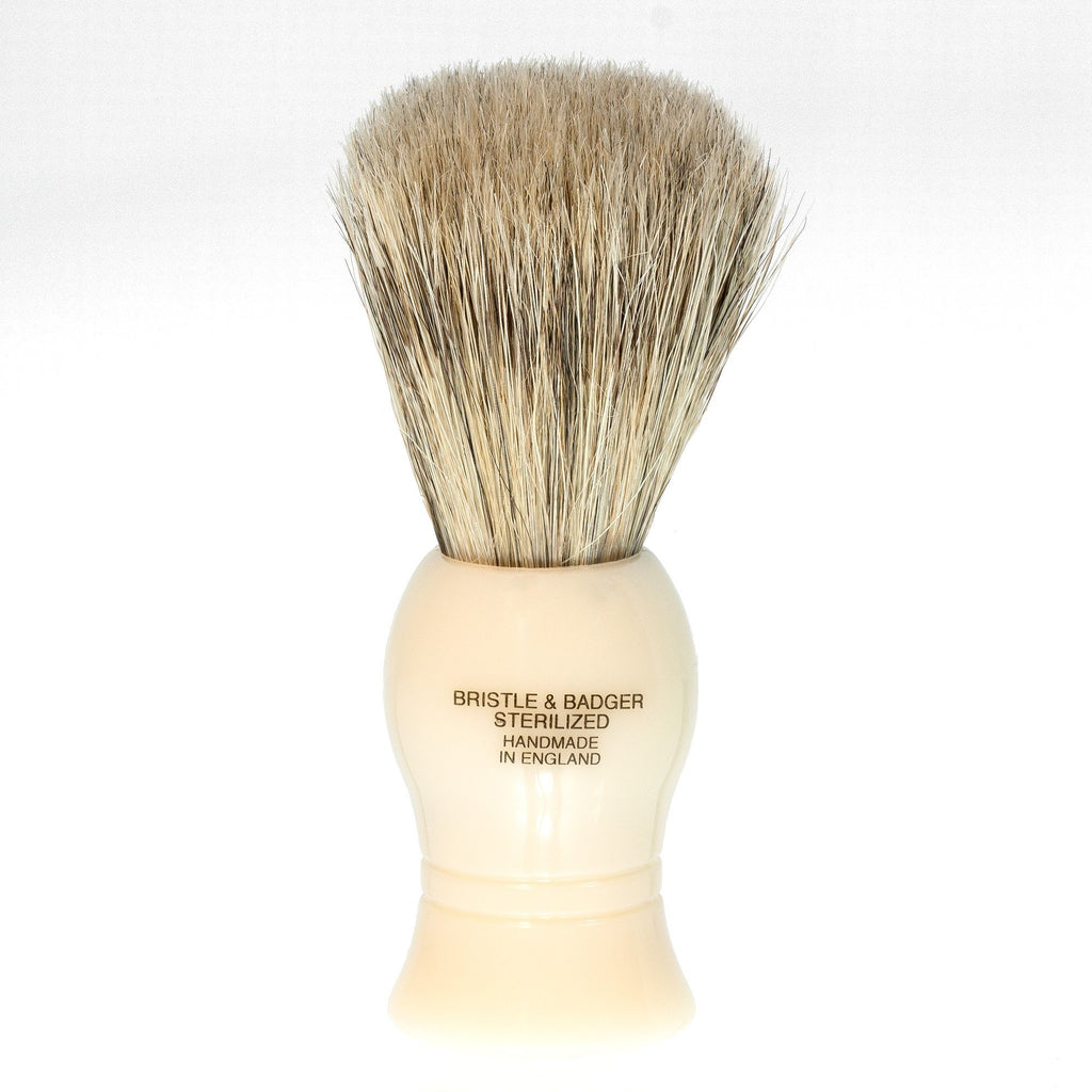 Vulfix Bristle & Badger Shaving Brush, Faux Ivory Handle Shaving Brush Vulfix