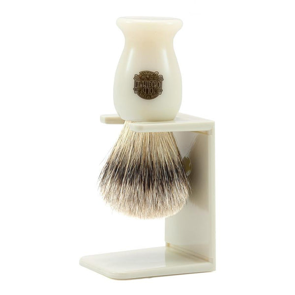 Vulfix 660S Medium Super Badger Shaving Brush & Stand, Faux Ivory - Fendrihan - 1