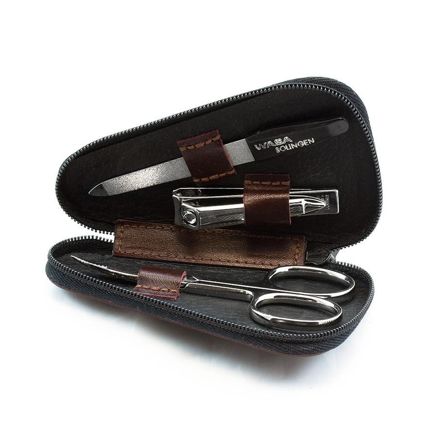 WASA Solingen 3-Piece Manicure Set, Brown Leather Zip Case Manicure Set WASA Solingen