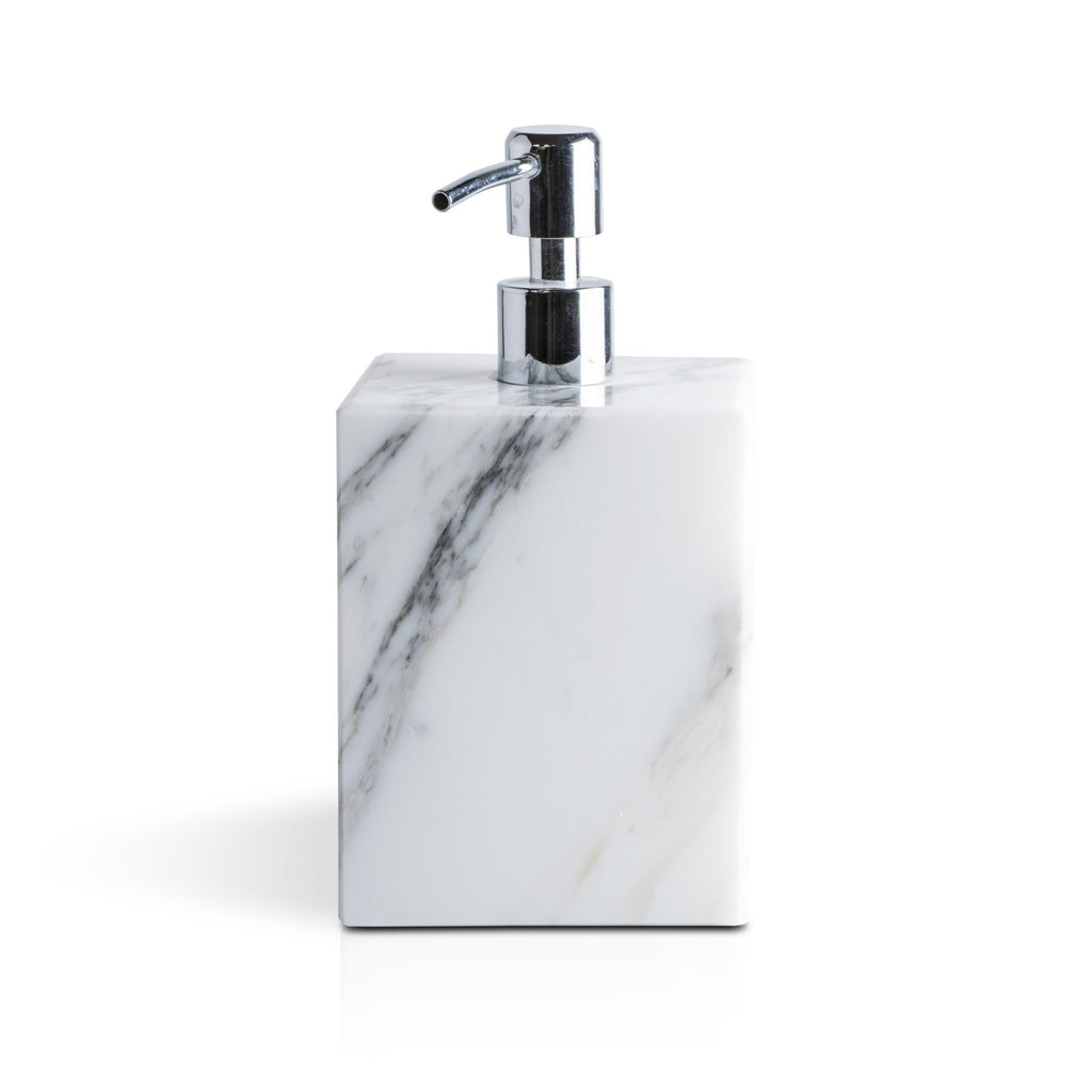 Fiammetta V Square Marble Soap Pump Dispenser Soap Dispenser Fiammetta V White Carrara