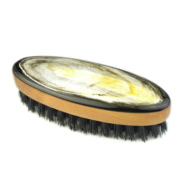 Abbeyhorn Ox Horn, Pearwood and Natural Bristle Oval Beard Brush - Fendrihan