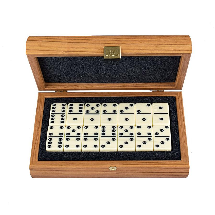 Manopoulos Domino Set Board Game Manopoulos Wooden Case with Lupo Burl Cover
