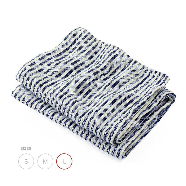 Brahms Mount Linen Bath Sheet, Plain Weave Pearl and Blue Stripe - Fendrihan - 1