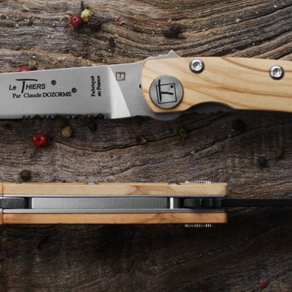 Claude Dozorme Liner Lock Le Thiers Black Blade Folding Pocket Knife and Corkscrew, Olive Wood - Fendrihan - 4