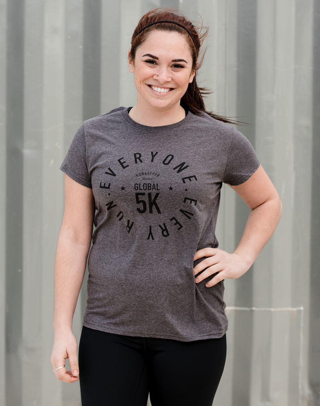 Runkeeper Global 5K - Women's '5K Badge' Cotton Blend TeeGrey_master_image