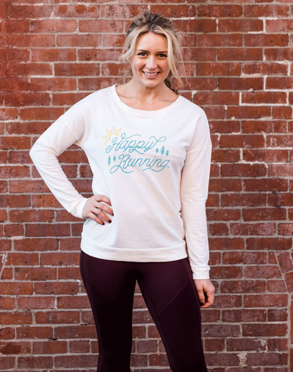 Runkeeper Happy Running Long Sleeve Scoop NeckNatural White_master_image