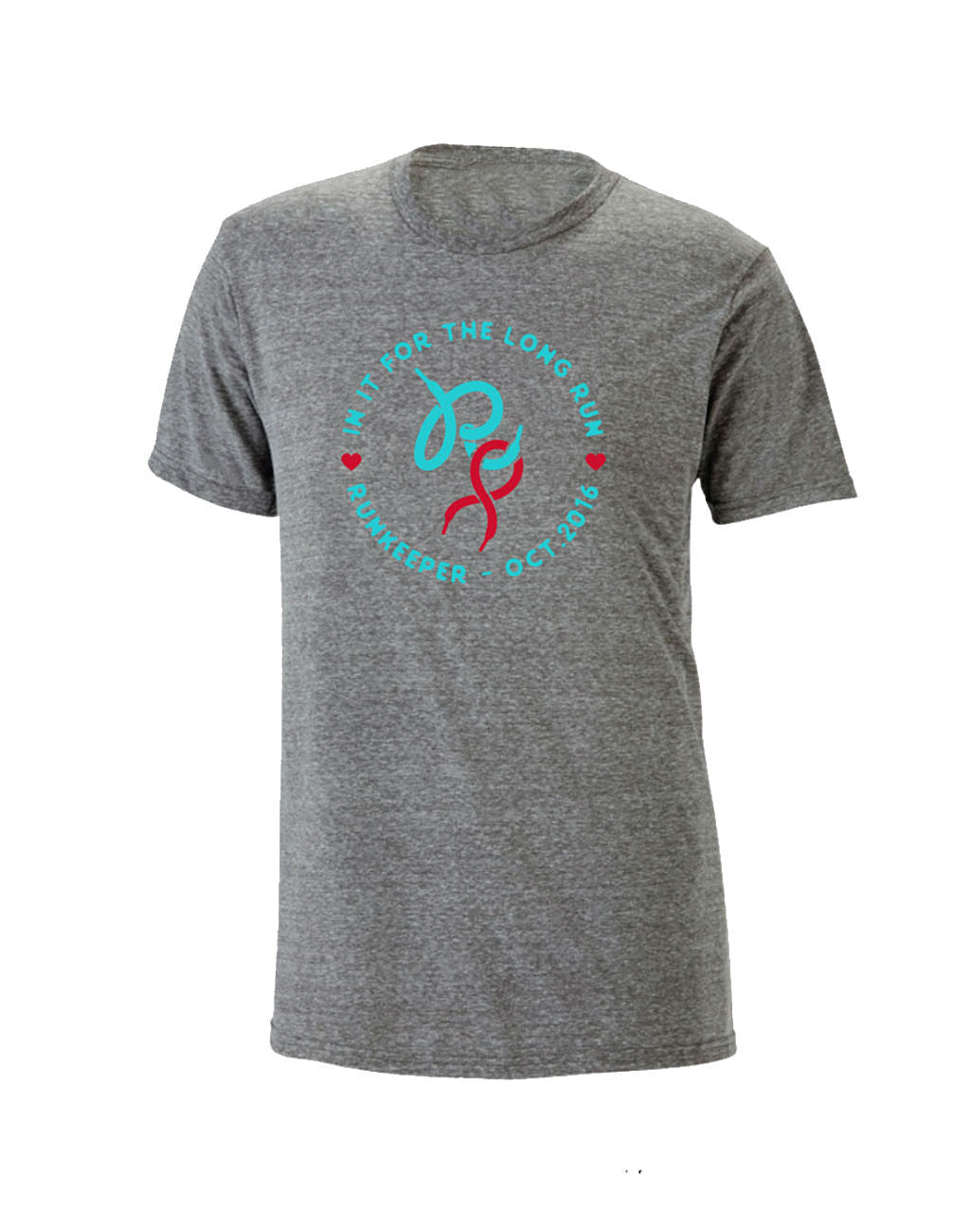 Runkeeper The Long Run Tee for Cancer Awareness (Red Ribbon)Graphite Heather_master_image