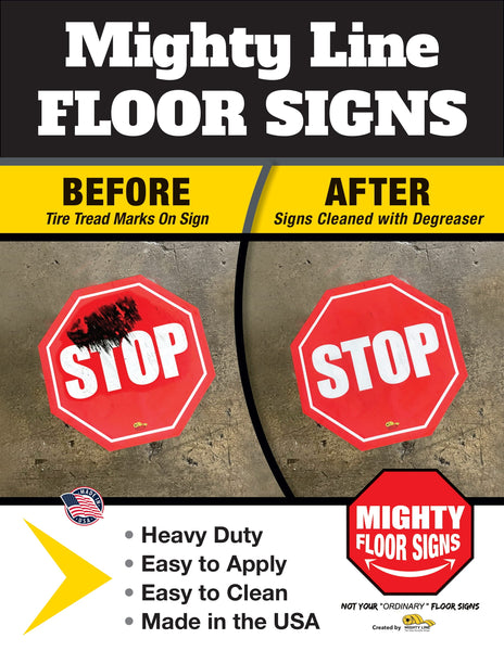 Mighty Line Heavy Duty Floor Signs - Before and After Cleaning
