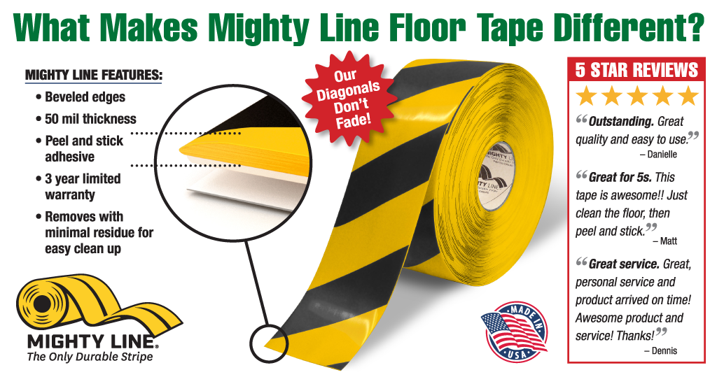 """Mighty Line 3"""" Yellow and Black Diagonal Floor Tape. Mighty Line Hazard Floor Tape has beveled edges, colors do not fade, increased durability with 50 mil thickness, and Made in the USA."""