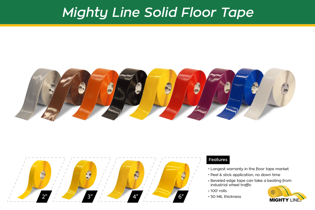 Mighty Line Solid Color Safety Floor Tape