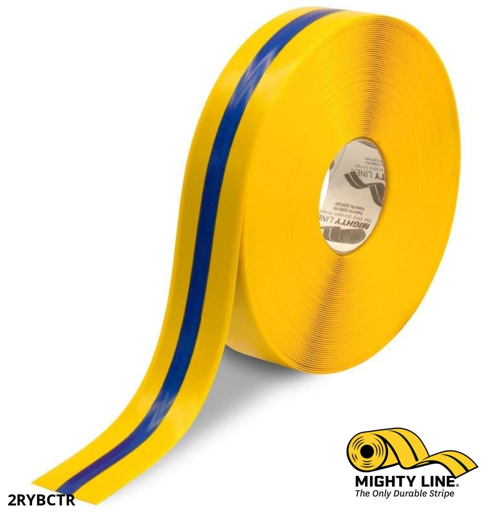 2 Yellow Tape With Blue Center Line - 100 Roll Safety Floor Product
