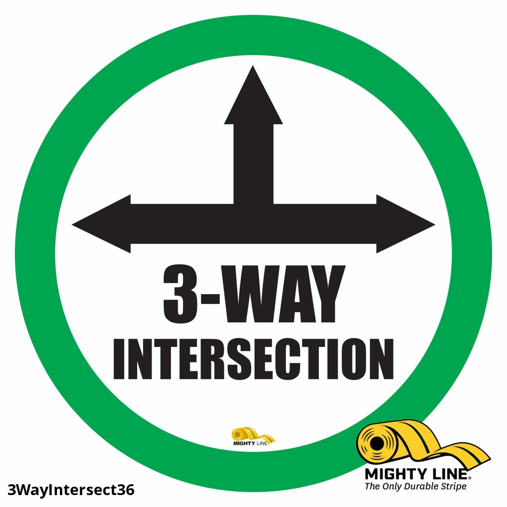 3 Way Intersection Mighty Line Floor Sign Industrial Strength 36 Wide Product
