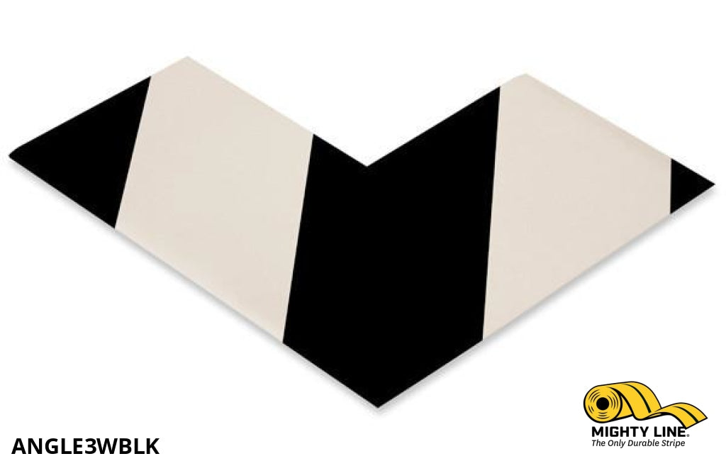 3 Wide Solid White Angle With Black Chevrons - Pack Of 100 Safety Floor Tape & Marking Product