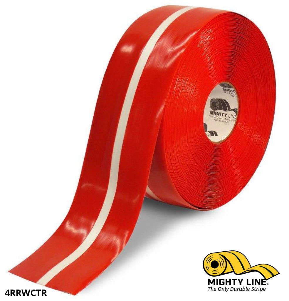 4 Red Tape With White Center Line - 100 Roll Safety Floor Product