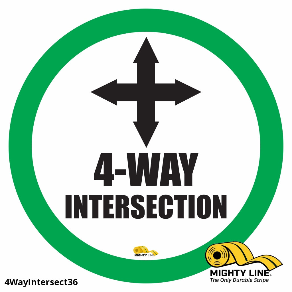 4 Way Intersection Mighty Line Floor Sign Industrial Strength 36 Wide Product