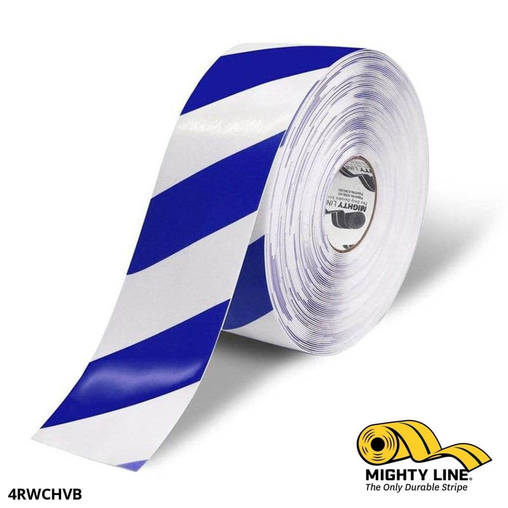 4 White Tape With Blue Chevrons - 100 Roll Safety Floor Product