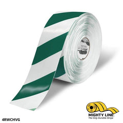 4 White Tape With Green Chevrons - 100 Roll Safety Floor Product