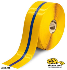 4 Yellow Tape With Blue Center Line - 100 Roll Safety Floor Product